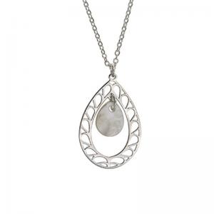 Srebrny komplet łezka z naturalną masą perłową