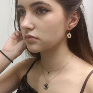 Srebrny komplet pozłacany z czarną emalią