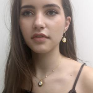 Srebrny komplet naszyjnik i kolczyki biała emalia