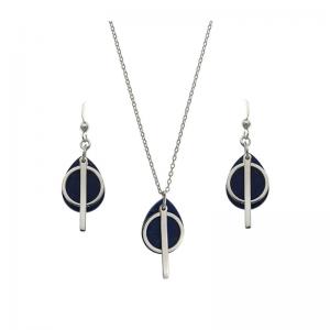 Srebrny naszyjnik lapis lazuli z kółeczkiem i patyczkiem