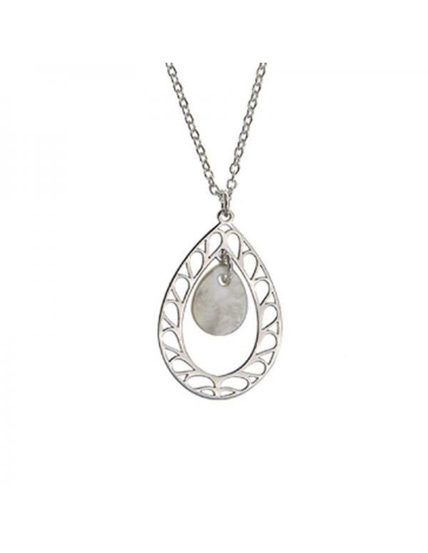 Srebrny naszyjnik łezka z naturalną masą perłową