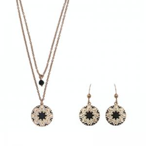 Srebrne kolczyki z czarna i białą emalią pozłacane różowym złotem