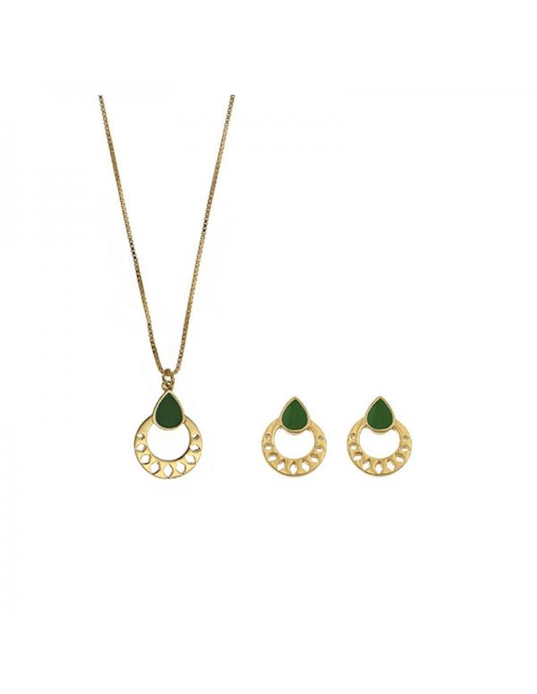Pozłacany komplet naszyjnik i kolczyki z zieloną emalią
