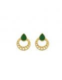 Pozłacane kolczyki z zielona emalią