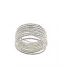 Srebrny pierścionek spirala obrączka fakturowany