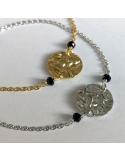 Bransoletka kółko z czarnymi cyrkoniami srebrna lub pozłacana