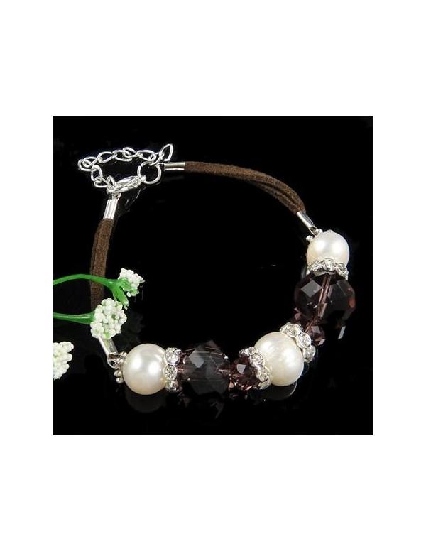 Naszyjnik z pereł - jasny srebrny