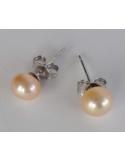 """Kolczyki """"pearl drop"""" z perłą Srebrne kolczyki z perłą łososiową """"pearl drop"""""""